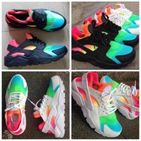 Wholesale Cheap Rainbow Shoes - 2017 Cheap Huarache Running Shoes For Men Women,Woman Mens Black White Rainbow Air Huaraches Multicolor Sneakers Athletic Trainers 36-46