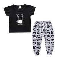 Wholesale Baby Boy Trouser Grey - Hooyi Monster Baby Clothes Suits Black T-Shirt + Pants Grey Kids Sport Suit Cartoon Boys Outfits Cotton Tee Shirts Long Trouser Tracksuits
