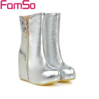 Wholesale Sexy Pump Heel Wedge Boots - Wholesale-Size34-43 2016 Sexy Women Boots Autumn High Heels Boots Gold Silver Wedges Pumps Winter Waterproof Motorcycle Boots SBT2548