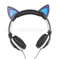 Wholesale Ear Headphones Cartoon - Headphone Cartoon Ear Head Wear Type Luminous Mobile Phone Music Earphone Foldable Cat Headband Gaming Headset Earphone Flashing Led Light