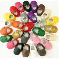 Wholesale baby moccasins shoes online - Cute Baby Moccasins Newborn Baby Prewalkers Shoes First Walker Soft Bottom Non slip PU Leather Tassel Toddler Boot
