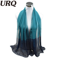 Wholesale Ombre Scarves - Wholesale-silk scarf ombre Wrap Solid Colored Scarves Foulard Chiffon Hijab Luxury Brand Scarf Bufandas Cape Head Scarves 2016 URQ