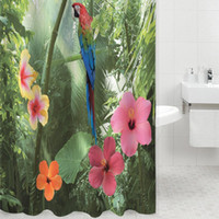Wholesale Hooks For Bathrooms - Wholesale- Practical Multi-color 3D Waterproof Polyester Shower Curtain Parrot Nature Pattern with 12 Plastic Hooks for Home Bathroom