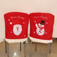 Wholesale Chair Design Wholesale - 2Pcs  Set Christmas Decoration Supplies Snowman Santa Design Chair Covers Hotel Home Dining Table Chair Ornaments
