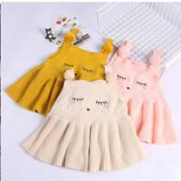 Wholesale Embroidered Tank Dress - Baby Girls Dresses Children Clothing Dress Knit Cotton Cartoon Embroidered Sleeveless Tank Flower Shoulder Girl's Sundress For Girl A6764