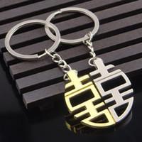 llavero de recuerdos envío gratis al por mayor-China Felicidad doble llavero favores de la boda y regalos Casamento Souvenirs Party Supplies envío gratis ZA4328
