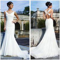 Wholesale Designer White Ivory Chiffon Beach - 2017 New Designer Beach Sheath Wedding Dresses Elegant White Chiffon Wedding Dress Sexy Back, free shipping.