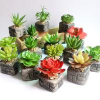Wholesale Artificial Mini Silk Flowers - Mini Artificial Plants in Imitation stone Pot PVC Bonsai Fake Potted Landscape Succulent & Cactus for Office Home Decoration 93-1021
