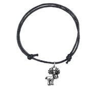 Wholesale Antique Reindeer - Adjustbale Korean Wax Cord Handmade Bracelet Antique Silver Reindeer Charm Bangle Bracelet Cuff Wristbands High Quality Gift Jewelry