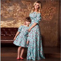 Wholesale woman children matching clothing resale online - mother and daughter clothes family matching outfits flower skirt baby clothing girls princess clothes children women fashion clothes QZZW070