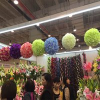 Wholesale 25cm kissing ball flowers - Free shipping 25cm Dia Artificial Silk Hydrangea flower Kissing Ball for Wedding Party Decorations Supplies Multi Colors Available