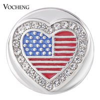 Wholesale Blue Heart Crystal Charms - VOCHENG NOOSA Ginger Snap Jewelry Heart USA with Crystal Button Charms 18mm Painted Design Vn-1740