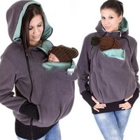 Wholesale Maternity Spring Outerwear - Baby Carrier Jacket Kangaroo hoodie Winter Maternity Outerwear Coat for Pregnant Women Thickened Pregnancy Baby Wearing Coat