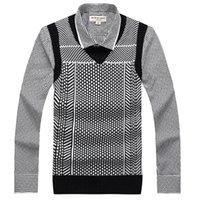 Wholesale High Fashion Vest Men - 2017 Autumn Men's Business Wool V-neck Sleeveless Knitted Vest Fashion Casual Argyle High Quality Slim Sweater M-3XL NO808