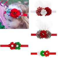 Wholesale Baby Headbands Diamond Rhinestones - Baby Christmas Headband With Rhinestone For Kid Toddler Head Band With Flower Diamond Soft Newborn Red Green Hair Accessories