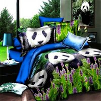 Wholesale Lavender Duvet Queen - Wholesale-3D Panda bedding set queen Polyester bed in a bag bamboo lavender sheets quilt duvet cover bedspreads bedsheets bedroom linen