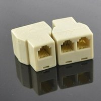 Wholesale Wholesale Rj11 - Beige RJ11 6P4C Telephone Cable Y Splitter 1 Female to 2 Female Phone Wire Extention Connector Couplers Modular Jack Socket Adapter
