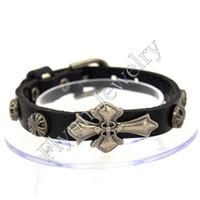 Wholesale Wholesale Silver Cross Watches - Leather Bracelets Bangling Jewelry Men s Bracelets Cross Accessories Watch Band Design Adjustable Hip Hop Decorations Jewelry