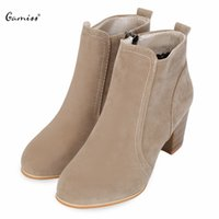 красные сапоги для женщин оптовых-Gamiss Fashion Sexy Ankle High Heels Women Shoes Suede PU Leather Boots Ladies OL Work Wear Zipper Footewar Boots Black Wine Red