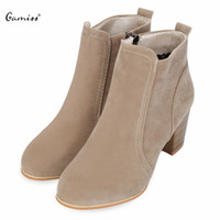 Wholesale Sexy Blue Suede Shoes - Gamiss Fashion Sexy Ankle High Heels Women Shoes Suede PU Leather Boots Ladies OL Work Wear Zipper Footewar Boots Black Wine Red