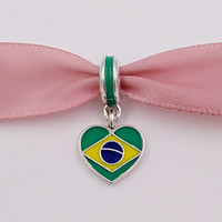 Wholesale 925 Silver Brazil - 925 Silver Beads Brazil Heart Flag With Enamel Fits European Pandora Style Bracelets Necklace for jewelry making 791911ENMX