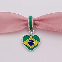 ingrosso stile brasiliano-Perline in argento 925 con bandiera a cuore in Brasile con smalto adatto per bracciali in stile europeo Pandora Collana per gioielleria 791911ENMX