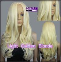 licht blonde lockige perücke cosplay großhandel-60 cm Licht Goldene Blonde Wärme Stylable Keine Bang Curly wellig Cosplay Perücken 38_LGB