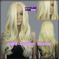 60cm Light Golden Blonde Hitze Styleable Kein Bang Curly wellenförmige Cosplay Perücken 38_LGB
