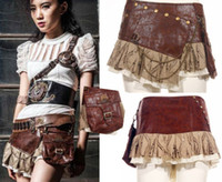 Wholesale Sexy Leather Mini Skirts - Steam punk Punk Cyber Rave Sexy Free Size Brown Mini Skirt by RQBL