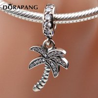 Wholesale diy coconut tree - DORAPANG 925 Sterling Silver Coconut Tree With Crystal Pendant Charm European Charms Bead Fit Snake Chain Bracelet DIY Jewelry Beads 2003