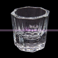 Wholesale Arcylic Cups - Wholesale- 1x Transparent Octagonal Glass Cup Arcylic Nail Art Powder Liquid Container Tool