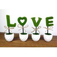 Wholesale Ceramic Vase Blue - Wholesale-Mastone Ceramic Vase LOVE Artificial Plants Bonsai Potted Simulation Flowers Decorated Flocking Flower 1PCS