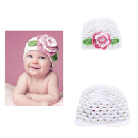 Wholesale Handmade Infant Flower Hats - Babies Winter Hat Wholesale Cap Handmade Kids Crochet Hats Bucket With Flower For Newborn Infant Toddler Photography