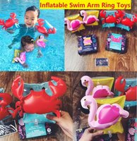Wholesale Tool Bath Toys - INS Kids Inflatable arm band cartoon swimming armlet flamingo Crab Baby swim rings safty assistive tools Inflatable Float Swim Arm Ring z024