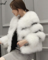Wholesale coat buttons sewing - Autumn winter new women's luxury real natural ostrich fur cotton-padded thickening short coat PU leather patchwork fur casacos S-XXL