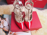 Wholesale Pink Wedding Wraps - 2017 Designer women high heels party fashion rivets girls sexy pointed shoes Dance shoes wedding shoes Double straps sandals