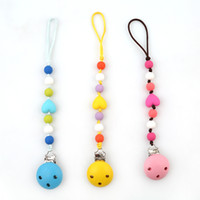 Wholesale Wood Pacifier Clip - Baby Pacifier Chain Silicone Beads Teething Pacifiers Clip Nipple Chain Infant Wood Soother Clips Chain Holder HO877077