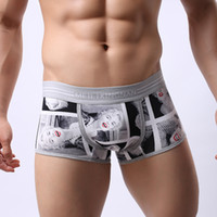 Wholesale White Pants Boxers - Men's cotton printed pants Comfortable breathe freely Youth personality splicing underwear