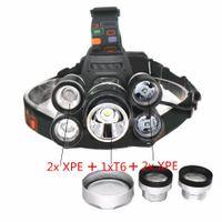светодиодное освещение для фар автомобилей оптовых-Аккумуляторная 18000lm 5 led масштабируемые фары зум фара охота лампа рыбалка велосипед свет + автомобиль AC / зарядное устройство