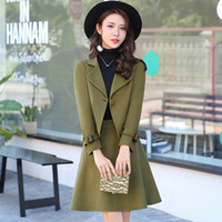 Wholesale Swinging Skirt - 2017 Autumn Winter Women Fashion Elegant Wool Skirt Suit 2 Piece Set Women jackets and coats And Woolen Big swing skirt Suits