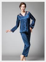 nachtwäsche lange stücke großhandel-Satin-Pyjama stellt Frauen-Pyjama eingestellt nachgeahmte silk lange Hosen Spitze Nachtwäsche Dame Nightwear Sleep Wear 2 Stück sexy Nachthemden SJYT54