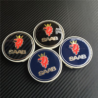 Wholesale Saab Wheel Emblems - 400pcs 68mm New Car Styling SAAB Blue Black Carbon Wheel Caps Hub Cover Badge Emblem Auto Logo