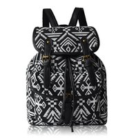 Wholesale Button Phones - Casual Backpacks Button Canvas Bag For Women Luxurious Cell Phone Pocket Student Schoolbags Canvas Print Ethnic Shopping Bags Good Quality