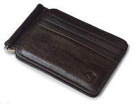 Wholesale Leather Cash Clip - wholesale new Thin Billfold Vintage Wallet Men Money Clips Genuine Leather Clamp Purse For Money Clip Metal Holder Cash Credit Card Pock