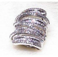 Wholesale wide band wedding ring sets resale online - Victoira Princess Jewelry Sterling Silver Pave Setting White Topaz Simulated Diamond Wedding Engagement Wide Band Ring for Women Sz5