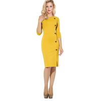 uzun kollu sarı kalem elbiseler toptan satış-Yeni Kadın İnce Seksi Elbise Yuvarlak boyun Uzun kollu Düğme Bölünmüş sarı fermuar Kalem elbise toptan Ofis Bayan gündelik iş elbisesi XXXL 2926
