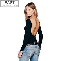 Wholesale T Shirt U Neck Wholesale - Wholesale- EAST KNITTING E76 New 2015 Women Sexy Deep U-neck Backless Long Sleeve Shirts Tops Slim T Shirt Casual Blusas