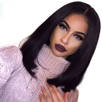 Wholesale French Hair Cut - Brazilian Straight Short Bob Wigs Full Lace Human Hair Wigs For Black Women Bob Cut Wig Lace Front Wigs