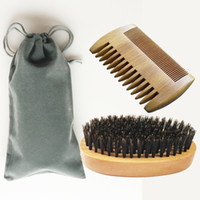 Wholesale Boar Brushes - Wood Comb Boar Bristle Beard Hair Brush Set Beech Paddle Brush Handle Wide Fine Double Clips Beard Hair Comb Anti Static Hairloss