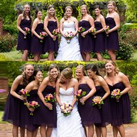 Wholesale Simple Short Bridesmaid Dresses Sweetheart - 2017 Cheap Simple Purple Short Bridesmaid Dresses A Line Sweetheart Chiffon Short Maid Of Honor Dresses For Wedding